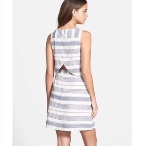 Madewell linen striped dress with back cut out
